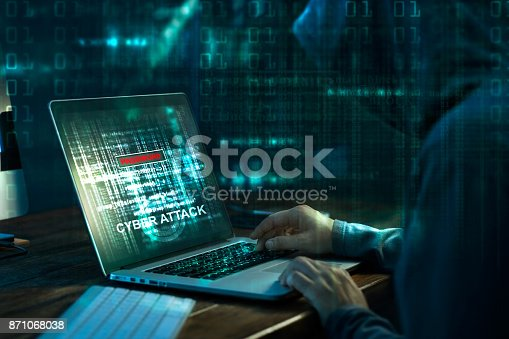 istock Computer hacker. Internet crime working on a code on laptop screen with dark digital background. Cyber attack in cyberspace concept 871068038