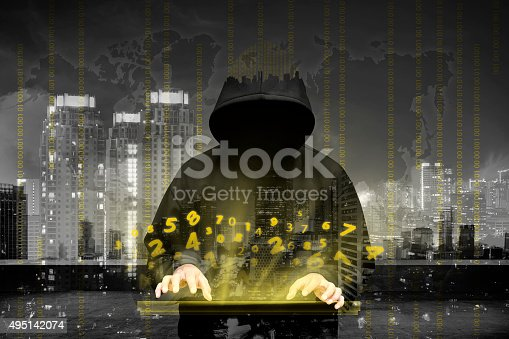istock Computer hacker silhouette of hooded man 495142074