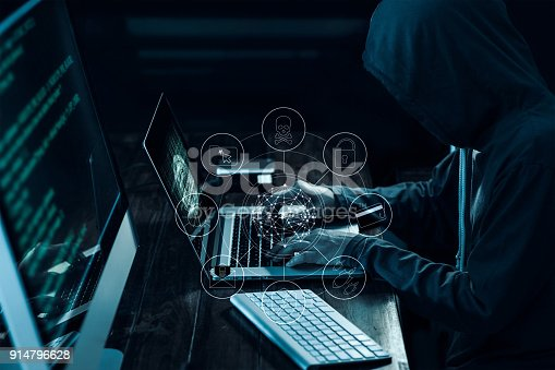 894954832 istock photo Computer hacker with icons working and stealing information on laptop in dark interface. Cyber crime concept 914796628