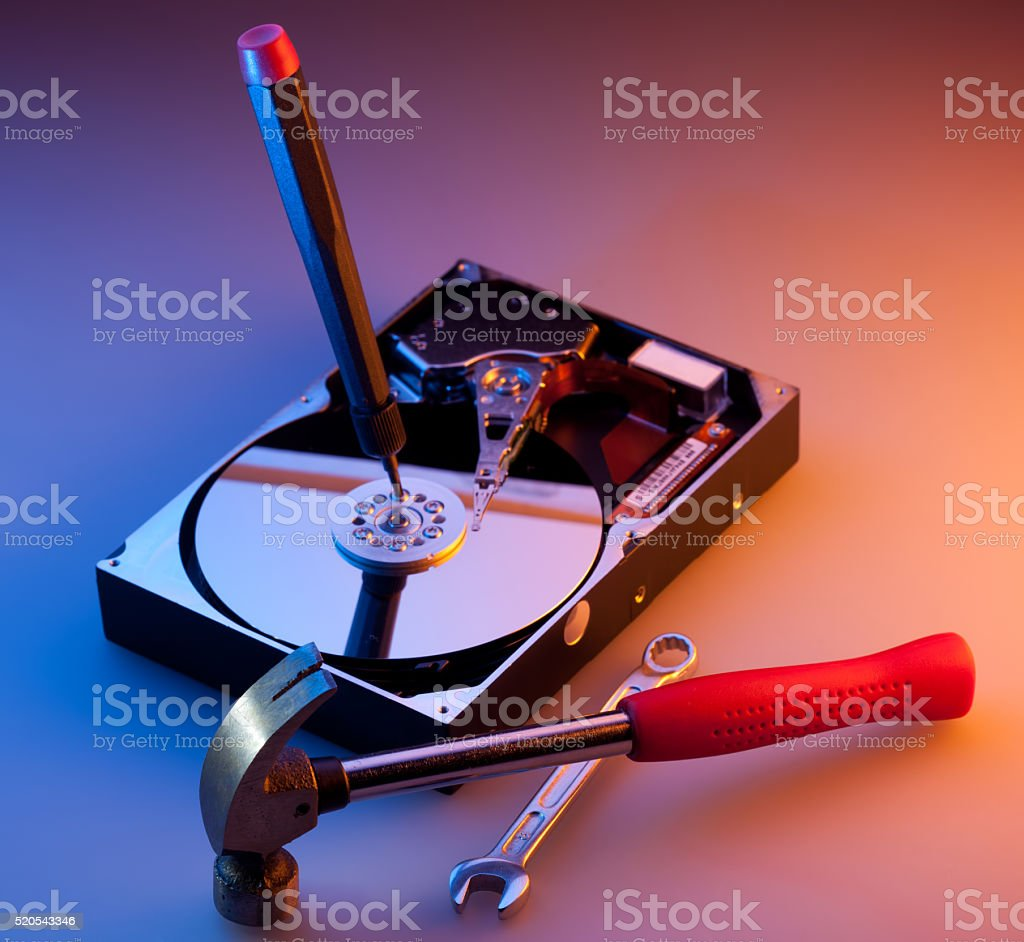 Computer hard disc repair stock photo