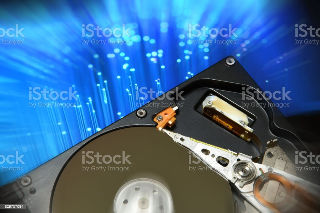 Computer Hard Disk Drive Opened With Abstract Effects On The