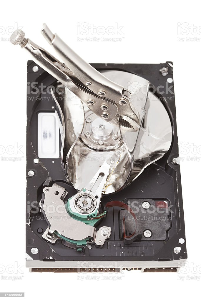 Computer Hard Drive Damaged with Locking Pliers to Destroy Data royalty-free stock photo