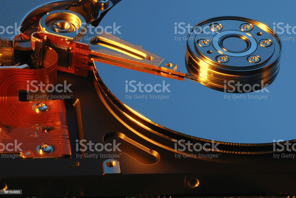 Computer Hard Drive Disc with Read Write Head royalty-free stock photo