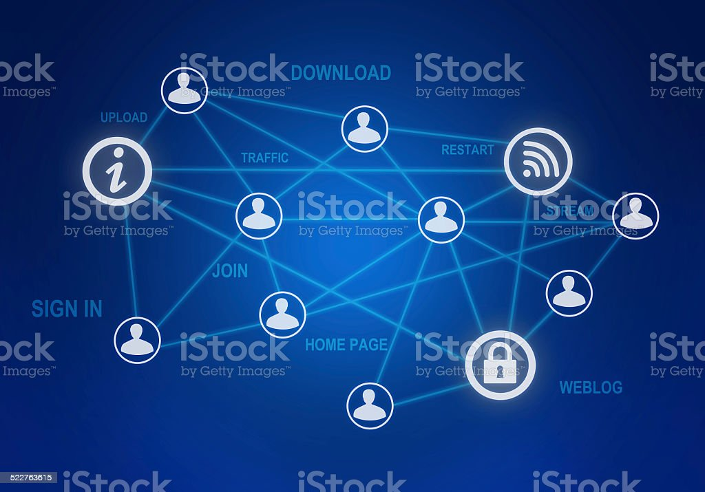 computer icons and people connection in a global network. stock photo