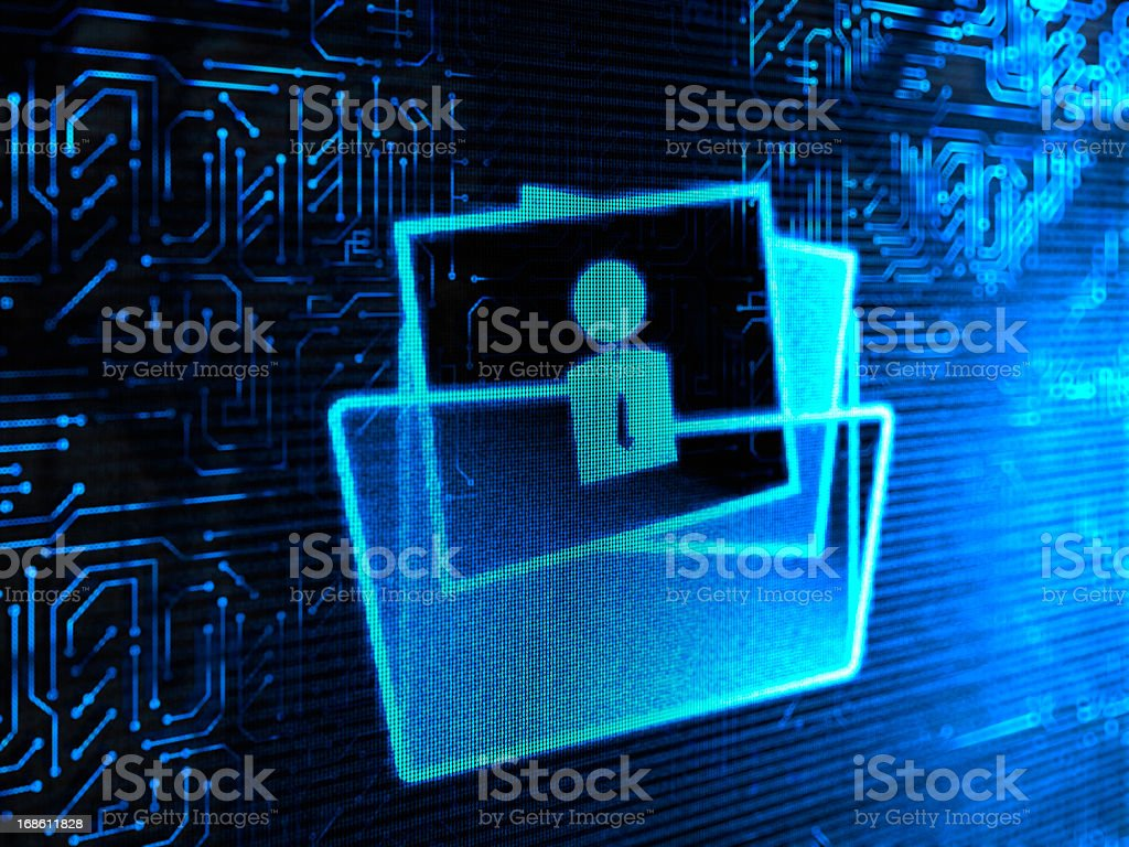 Computer illustration of documents in a folder icon royalty-free stock photo