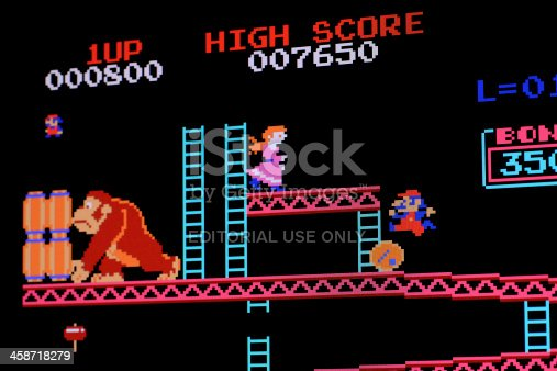istock Computer image of classic video game 458718279