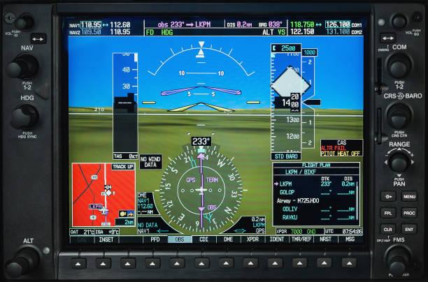 Computer im Cockpit. Flugzeug-Glas-Cockpit-Display mit Wetter-Radar und Motor Lehren in kleinen privaten Flugzeug – Foto