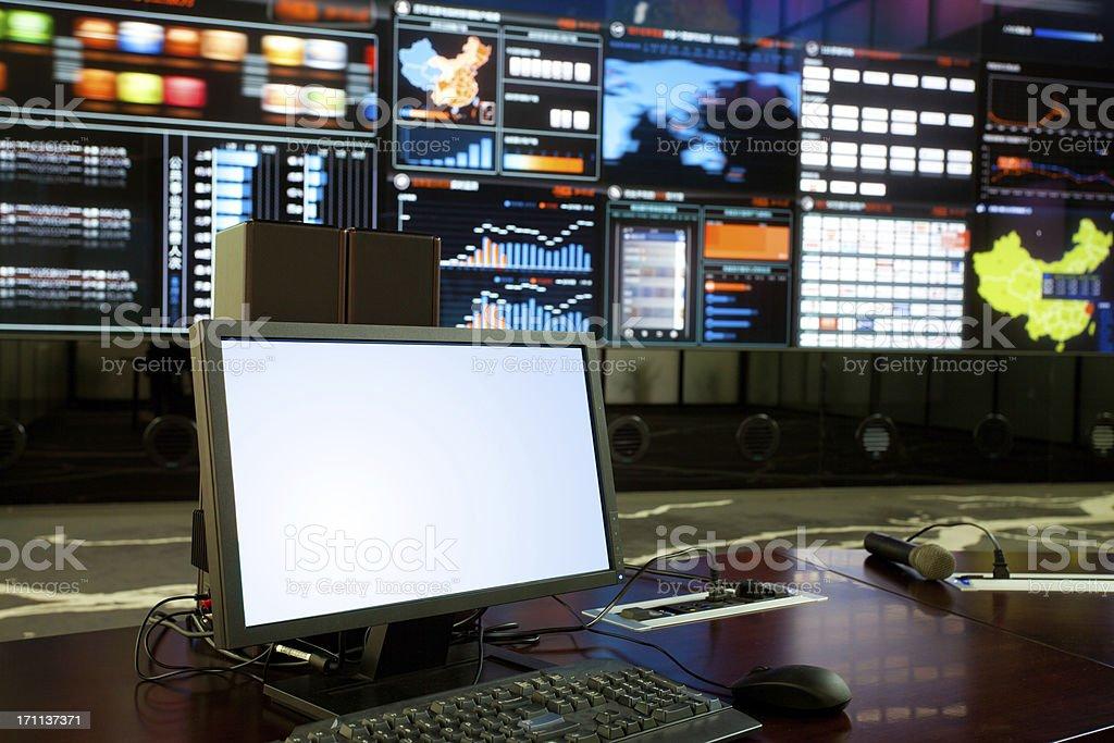computer in data center stock photo