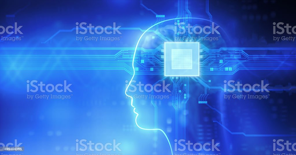 Computer in head stock photo