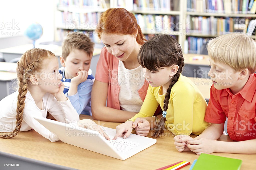 Computer in the classroom royalty-free stock photo
