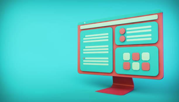 ilustración de la interfaz de ordenador - website design fotografías e imágenes de stock
