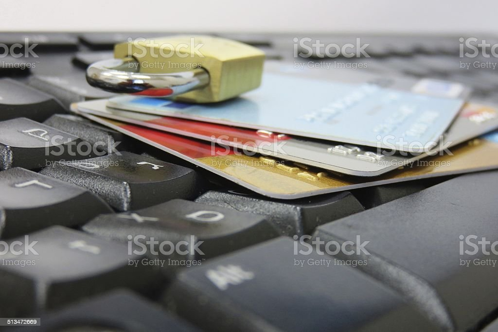 Computer internet credit card securit stock photo