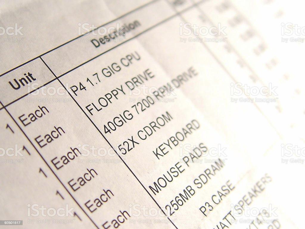 Computer Invoice royalty-free stock photo