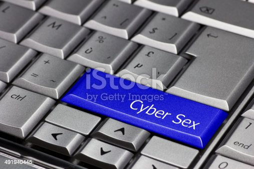 istock Computer key blue - Cyber Sex 491940445