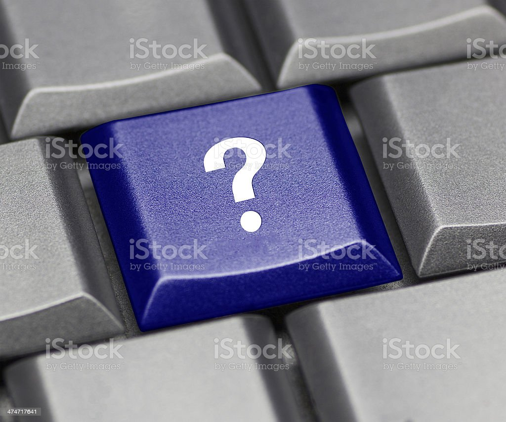 Computer key blue glossy - question mark stock photo