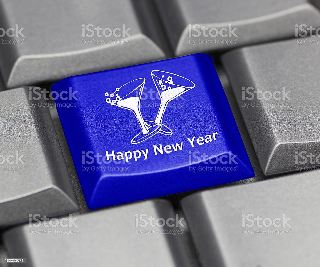 Computer key blue- happy New Year royalty-free stock photo