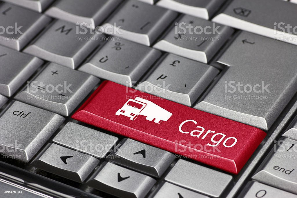 Computer key - Cargo with delivery truck stock photo