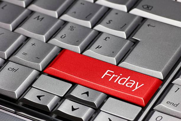 computer key-tagen der woche freitag - heute ist freitag stock-fotos und bilder