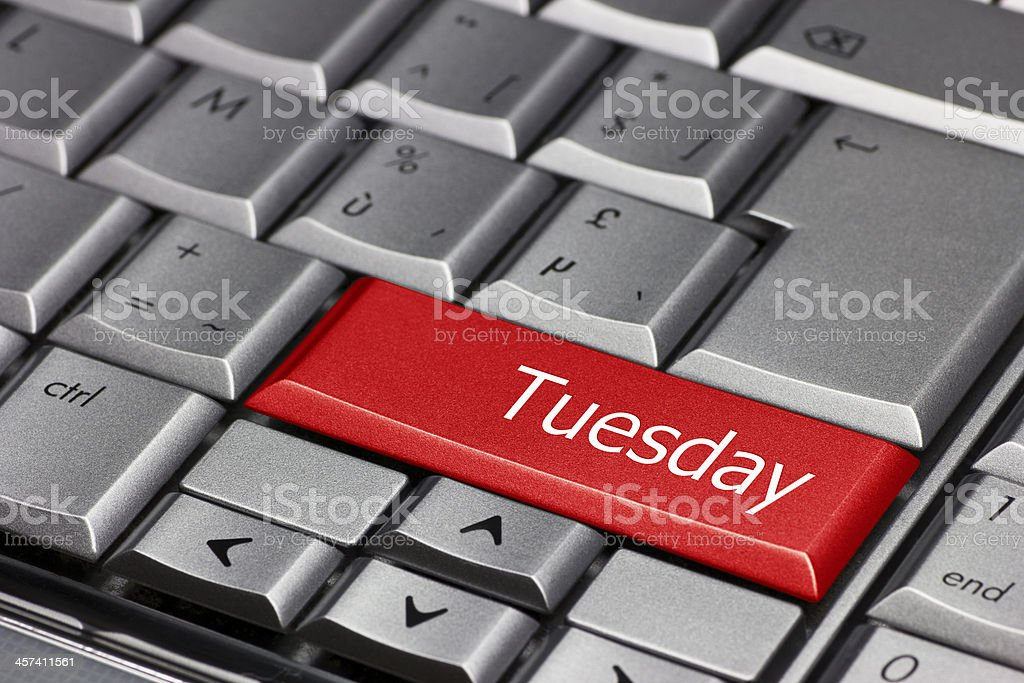 Computer key - days of the week Tuesday stock photo