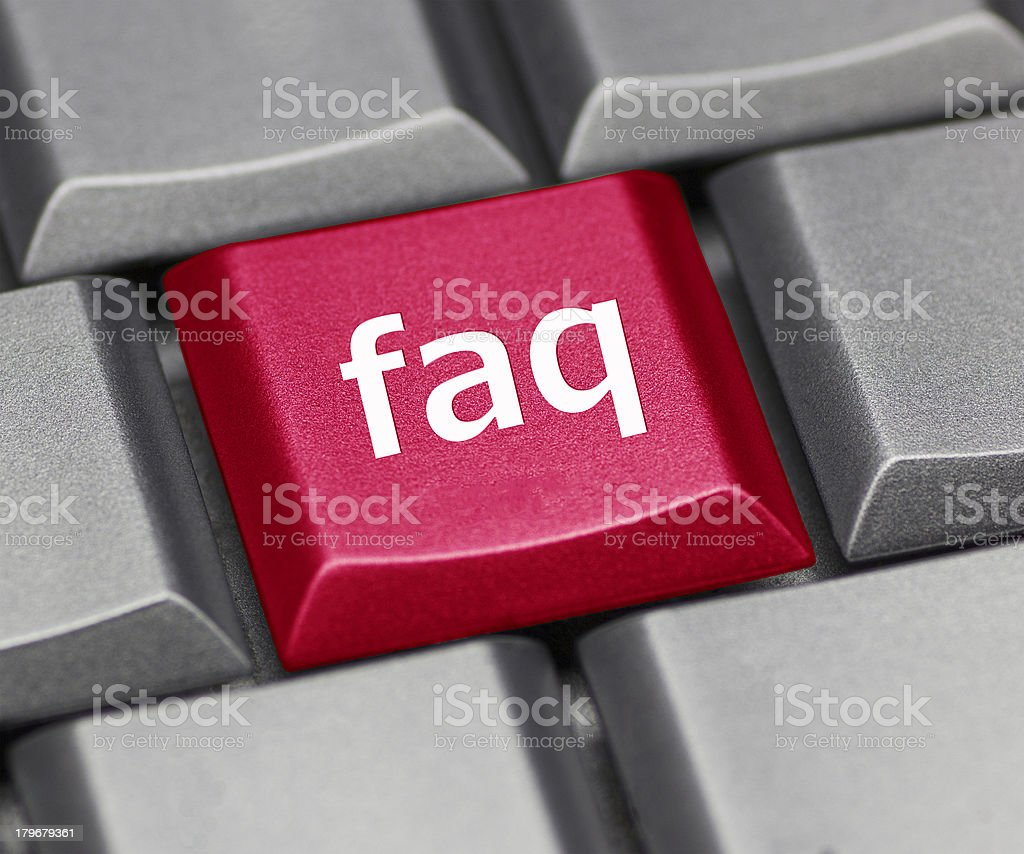 Computer key - FAQ royalty-free stock photo