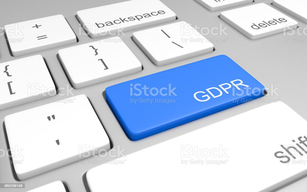 Computer key for accessing GDPR compliance information for website owners, 3D rendering - Royalty-free Accessibility Stock Photo