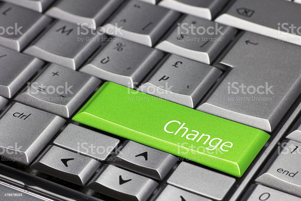 Computer Key Green - Change royalty-free stock photo
