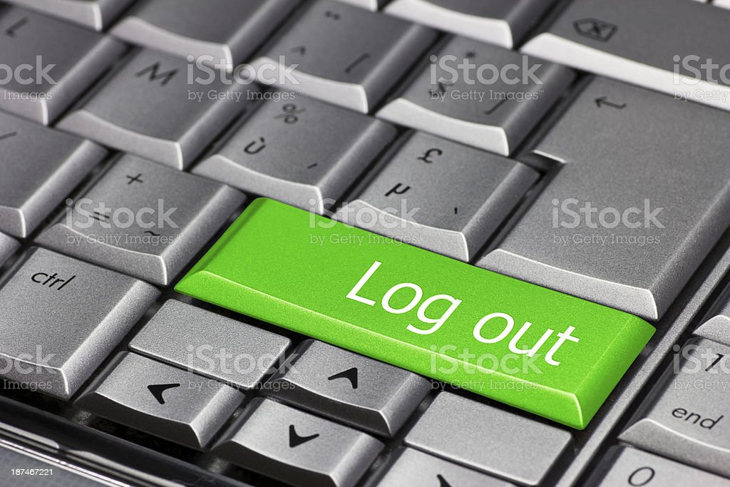 Computer key green - Log Out stock photo