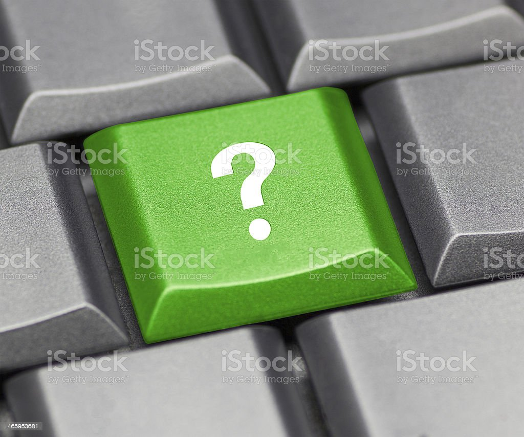 Computer key green - question mark stock photo