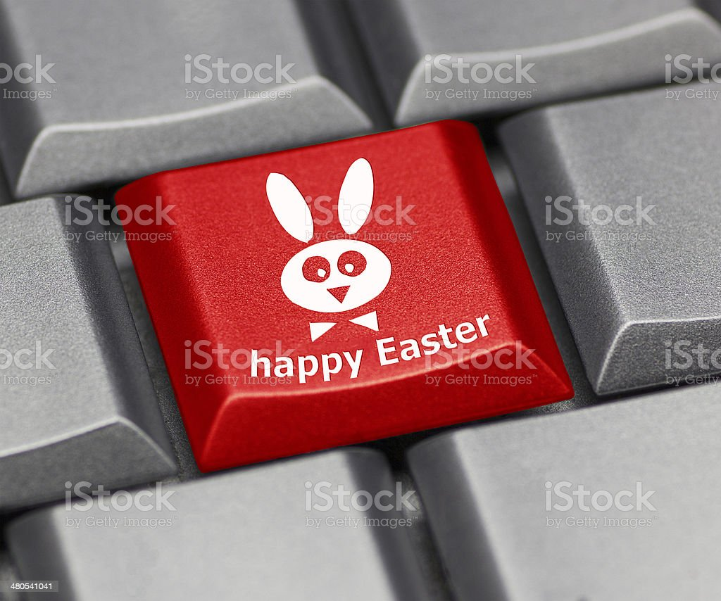 Computer key - Happy Easter with rabbit royalty-free stock photo