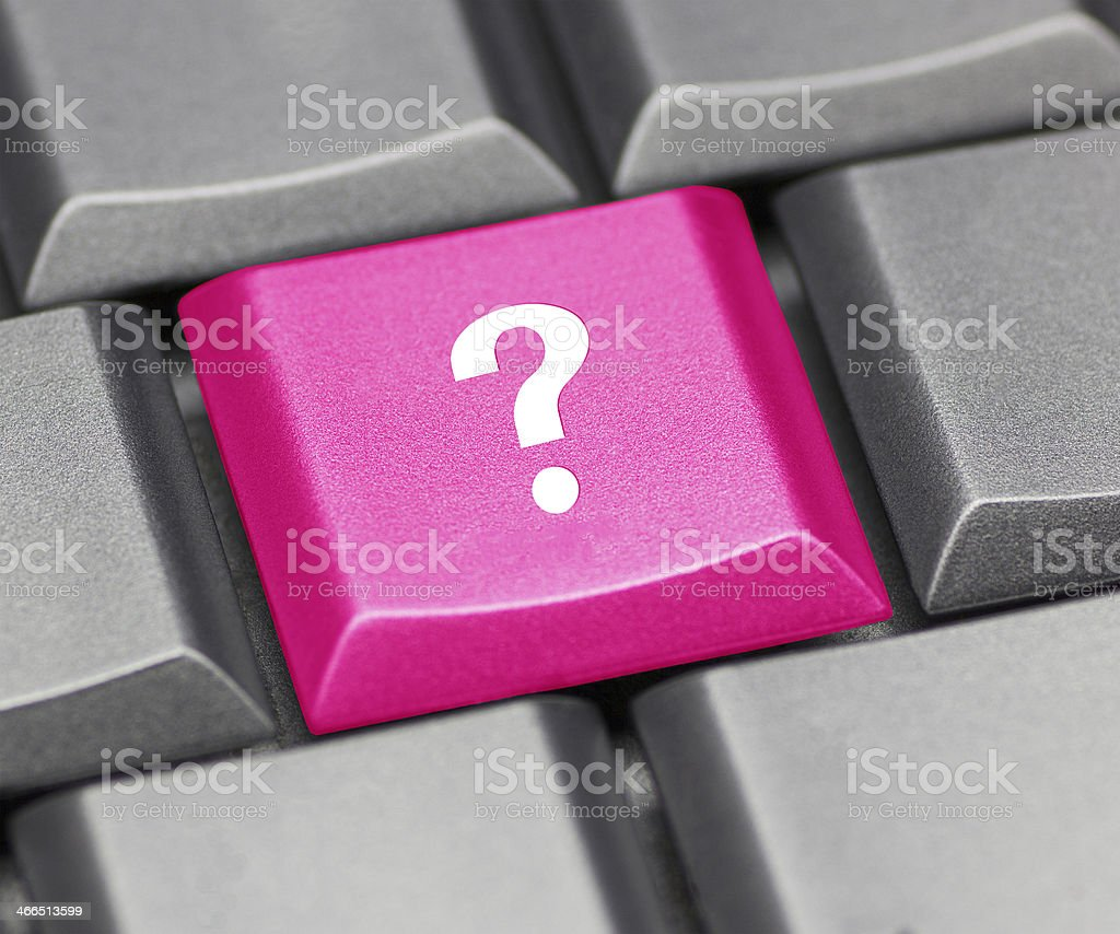 Computer key pink - question mark stock photo