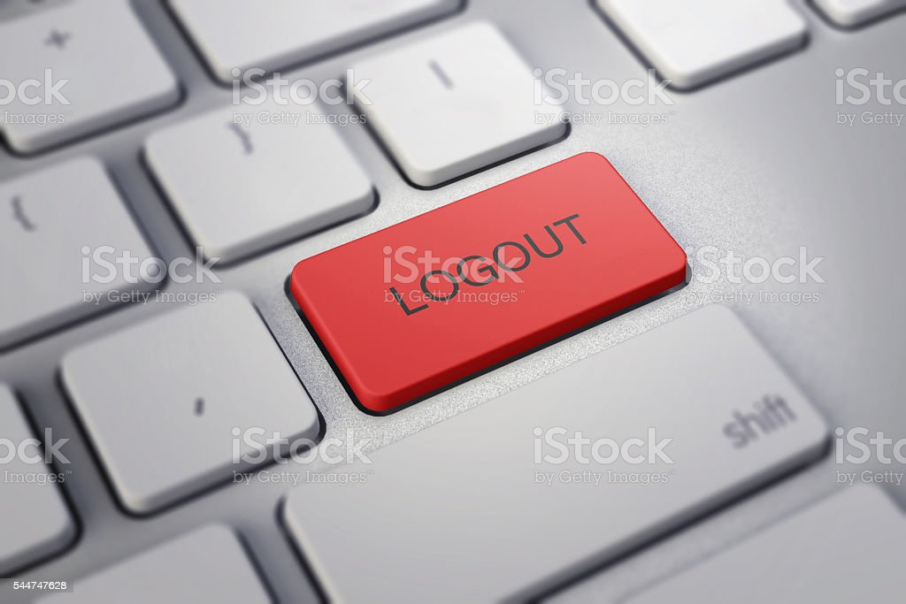 Computer key red - Log out stock photo