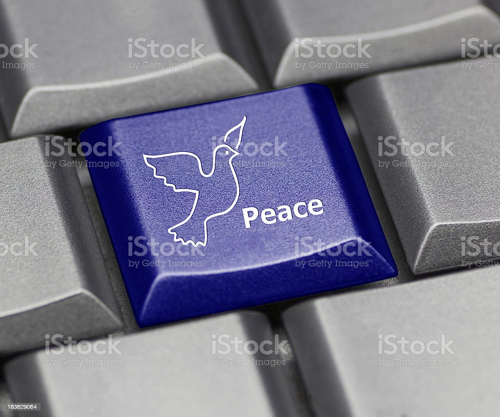 Computer key shiny blue - peace dove royalty-free stock photo