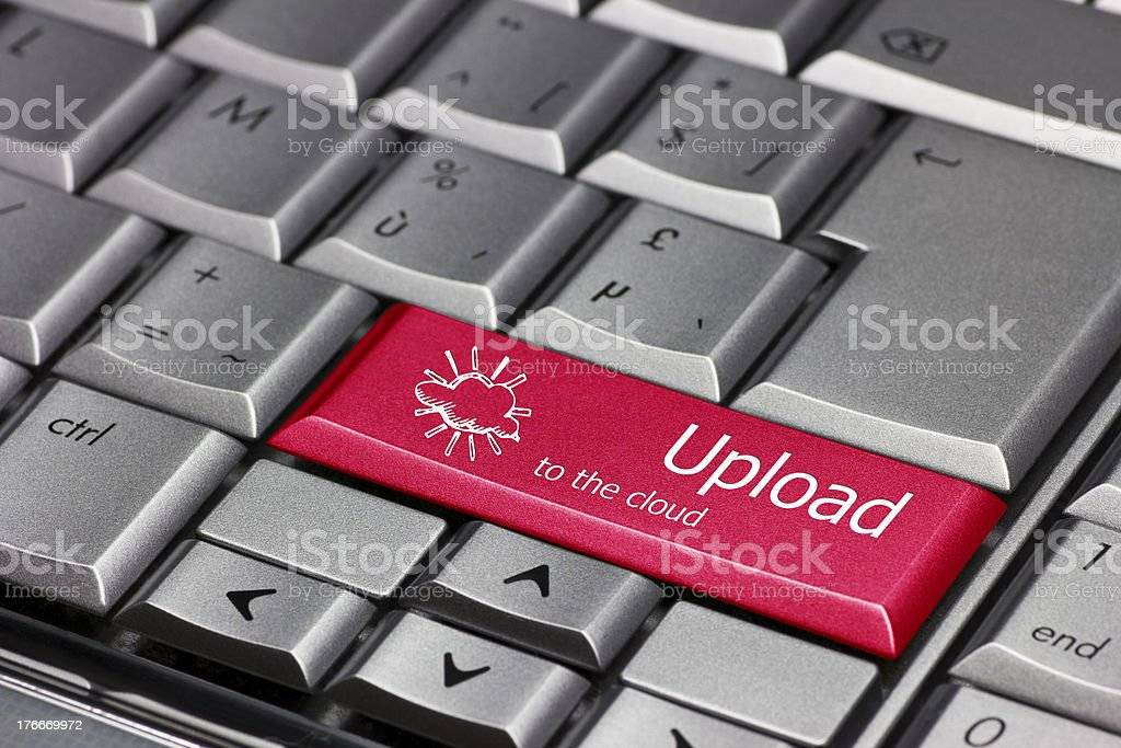 Computer key - upload to the cloud royalty-free stock photo