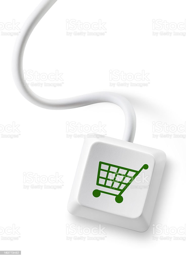 Computer key with cable royalty-free stock photo