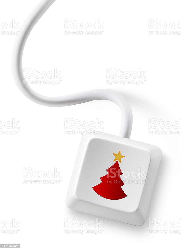 Computer key with Christmas tree icon royalty-free stock photo