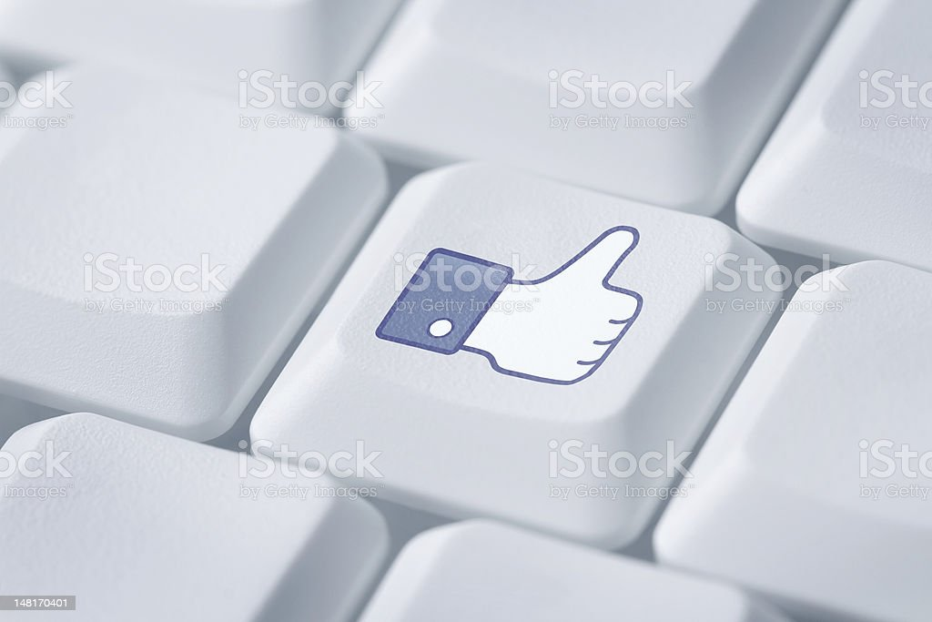 Computer key with like or thumb up symbol royalty-free stock photo
