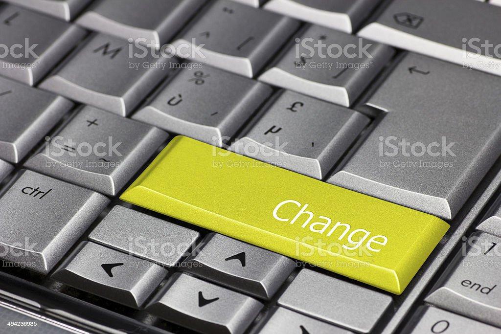 Computer Key Yellow - Change stock photo