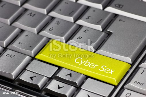 istock Computer key yellow - Cyber Sex 484765391