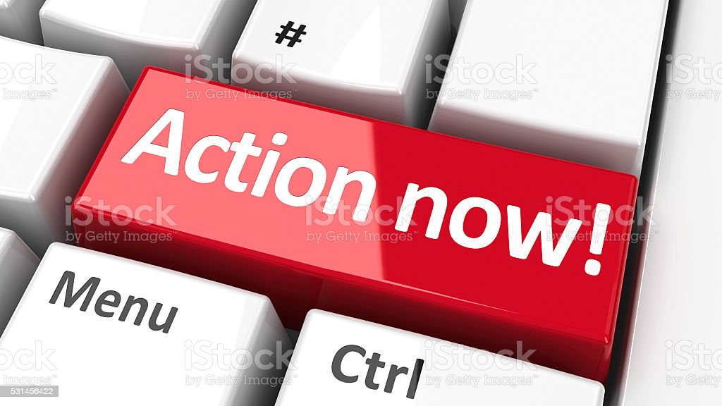 Computer keyboard action now #2 stock photo