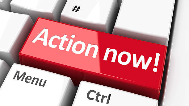 "Computer keyboard action now #2 ""Action now!"" key on the computer keyboard - call to urgent action, three-dimensional rendering animal call stock pictures, royalty-free photos & images"