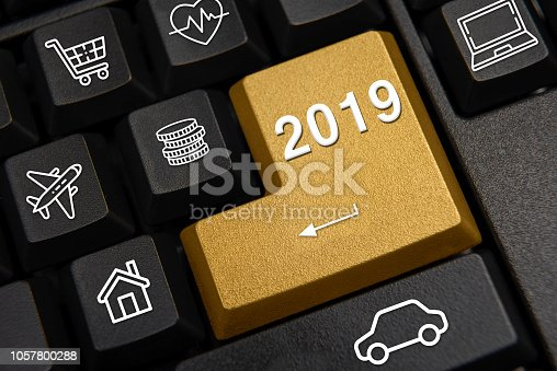 istock Computer keyboard and 2019 New Year's wish concept. 1057800288