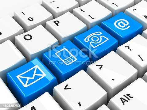 istock Computer keyboard blue contact 480538250