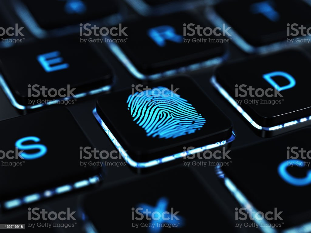 Computer keyboard button with blue fingerprint stock photo