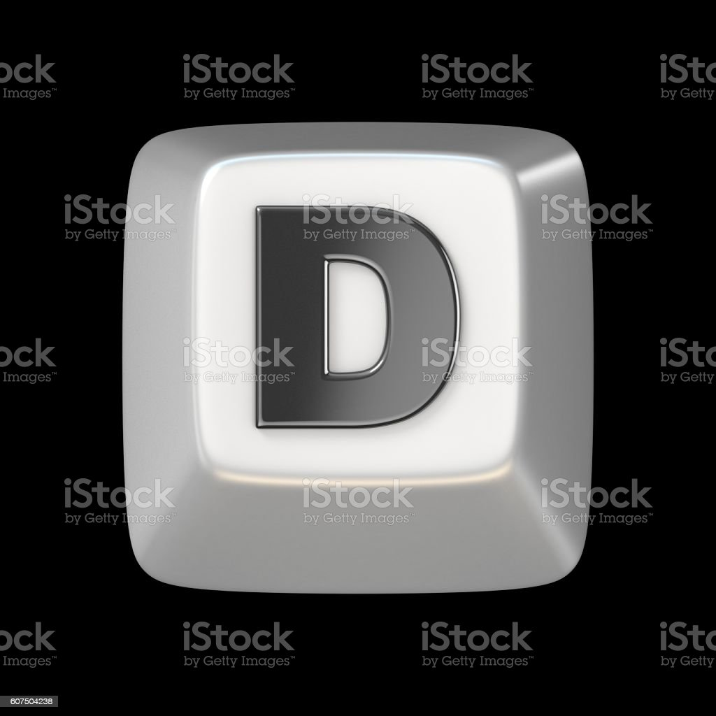 Computer keyboard key FONT. Letter D 3D stock photo