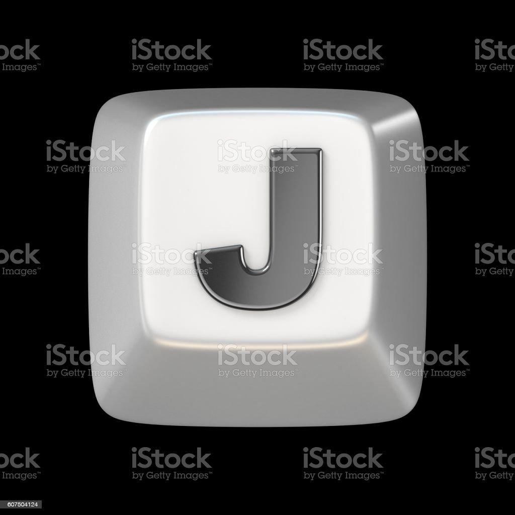 Computer keyboard key FONT. Letter J 3D stock photo