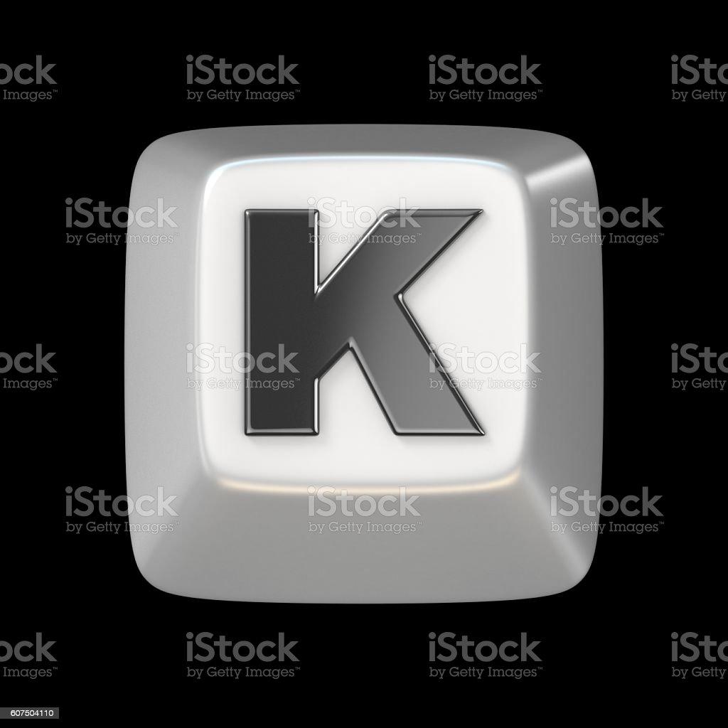 Computer keyboard key FONT. Letter K 3D stock photo
