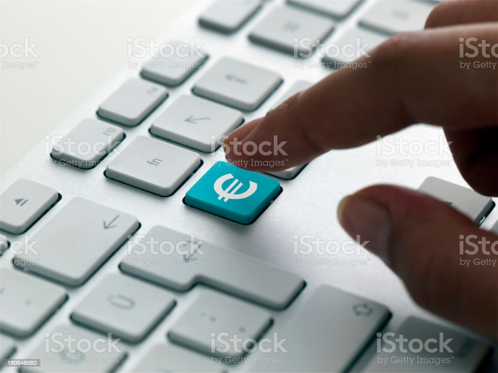 Computer keyboard message, euro sign stock photo