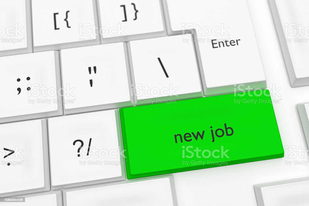 Computer Keyboard: New Job On A Green Key, 3d illustration royalty-free stock photo