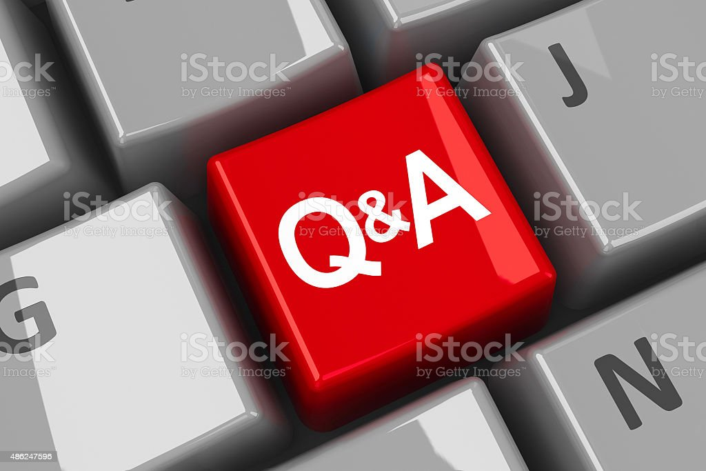 Computer keyboard Q&A key stock photo