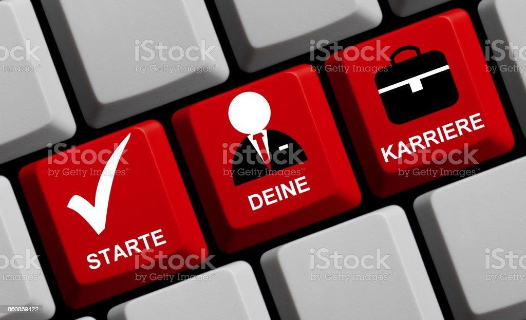 Computer Keyboard: Start your Career german stock photo